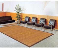 Bambusteppich SENSE 95cm rund, 17mm Stege, breite Bordüre, massives Bambus   Bordürenteppich   Teppich   Bambusmatte   Wohnzimmer   Küche   Markenprodukt von DE-COmmerce   nachhaltig und ökologisch.