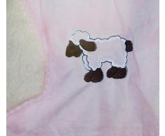 super weiche Babydecke mit Fell in rosa pastell mit süßer Stickerei Schaf HxB 70x100 cm Top Qualität - Kuscheldecke fusselt nicht! Typ172