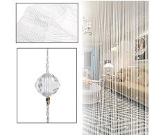 Nachahmung Kristall Perlen Quaste String Vorhang Tür Fenster Home Decor Teiler 1 x 2M weiß
