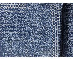 Handicrunch Indigo FarbhandBlock Gedrucktes Kantha Quilt, Patchwork Cotton Tagesdecke , Made By Artisians Of India