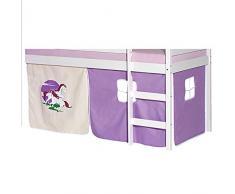 IDIMEX Vorhang Gardine Bettvorhang Einhorn zu Hochbett Rutschbett Spielbett in Lila/Beige
