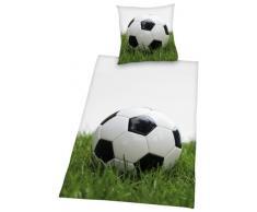 Herding YOUNG COLLECTION Bettwäsche-Set, Fußball Motiv, Bettbezug 135 x 200 cm, Kopfkissenbezug 80 x 80 cm, Baumwolle/Renforcé