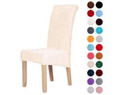 Stuhlhussen aus Samt, Stretch, Elastan, Plüsch, kurz, einfarbig, für große Esszimmerstühle, Stuhlschutz, Heimdekoration, beige, Set of 6 (Large)