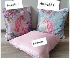 KK Einhorn Dekokissen Verwandlungs-Kissen mit Pailletten 40 x 40 cm