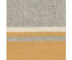 URBANARA Wolldecke Salakas 100% Schurwolle, Senfgelb/Creme 140 x 220 cm, Tagesdecke, Sofadecke, Bettdecke, Plaid, Bettüberwurf