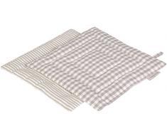 Vaitkute 219042 2-er Set Topflappen Streifen / Karo Halbleinen, 23 x 23 cm, 50% Leinen und Baumwolle, 60 Celsius waschbar, 210 g / m2, weiß / grau