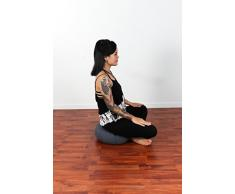 Leewadee Meditationskissen Yogakissen Zafu - 40x20cm - mit Dehnfalten (grau)