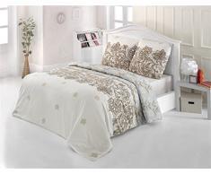Bettwäsche 200x220 Baumwolle Bettgarnitur mit Reißverschluss 3 teilig L-7605