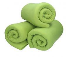 Betz 3 Stück Fleecedecke Kuscheldecke Wohndecke in Größe 130x170 cm Qualität 220 g/m Farbe grasgrün