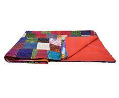 AndExports - Sari-Patchwork-Khanta-Tagesdecke, Queen Size, mehrfarbig, wendbar, indische Seide, Sari Patola Decke, Kunsthandwerk, traditionelle Kantha-Tagesdecke, indische handgefertigte Gudri Tagesdecke, einzigartiges Beispiel