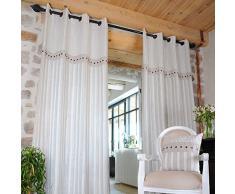 Lovely Casa R61369001 Alphonsine Ösenvorhang aus Baumwoll-Leinen-Gemisch, Maße: 135 x 250 cm