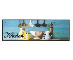 Küchenläufer / Küchenmatte / Dekoläufer für Küche und Bar / Teppich / Läüfer / Läufer / waschbare Küchenläufer / Küchendeko Modell ,,COOK & WASH blau - kitchen - Dekoration - Kochgeschirr Größe ca. 50 x 150 cm /