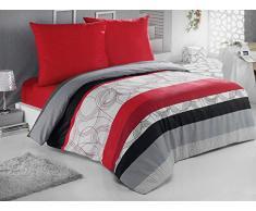 Baumwolle Bettwäsche Bettgarnitur mit Reißverschluss 3 Größen und vielen Farben Öko-Tex (135x200 cm, Design 19)