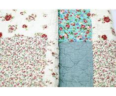 1001 Wohntraum 17JN02b Quilt Lotte Blumen, 200 x 230 cm, Plaid Tagesdecke, Patchwork Vintage Landhaus Shabby Decke, bunt