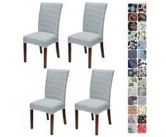 JOTOM Stuhlhussen Universal Stretch Stuhlbezug Elastische Moderne Stuhl Hussen Set Abnehmbare Dekoration Stuhlabdeckung für Esszimmer Party Hotel Restaurant Deko (Grau Kreuzstreifen, 4er Set)