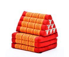 Leewadee Thai-Kissen Falt-Matratze Chill-Out Klapp-Matte Gepolsterte Lesestütze Boden-Liege-Matte mit Dreieck-Kissen Thai-Matte, 170x53x30 cm, Kapok, orange rot