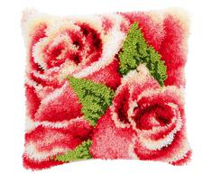 Vervaco Rosenblüte Knüpfkissen mit Knüpfhaken, Baumwolle, Mehrfarbig, 40 x 40 x 1 cm