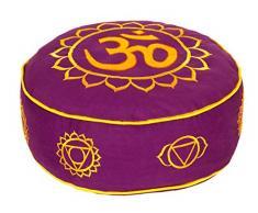 Yogabox Meditationskissen Glückssitz 7 Chakren Om violett