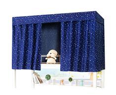 YSXY Bettvorhang für Kinder und Studenten, Vorhang Hochbett Schlafzelt Spielzelt Kinderbett Bett Etagenbett Studentenwohnheim Kinderzimmer,Sternchen Muster,Dunkelblau