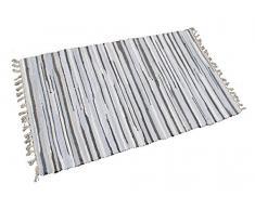 GMMH Fleckerlteppich Baumwolle Streifen Handweb Teppich Flickenteppich Fleckerl Handwebteppich (48 x 95 cm, grau)