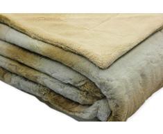 Kuscheldecke Fellimitat LUXURY Sofadecke ca. 150x200 cm Coral Fleece Decke #1645 beige