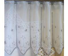 Scheibengardine nach Maß edel bestickt mit Sternen in silber - Höhe 30 cm - Breite der Gardine durch Stückzahl in 32 cm Schritten wählbar - Weihnachtsgardine Stern Bistro mit Spitze Fensterbild Weihnachten Sterne Typ302