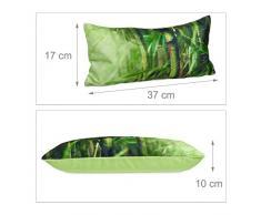 Relaxdays Badewannenkissen Bambus HBT ca. 10 x 37 x 17 cm extra weiches Nackenkissen für die Badewanne mit 2 Saugnäpfen als Wannenkissen oder Reisekissen mit Reißverschluss und waschbarem Bezug, grün