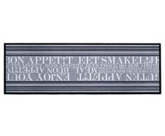 Küchenläufer / Küchenmatte / Dekoläufer für Küche und Bar / Teppich / Läüfer / Läufer / waschbare Küchenläufer / Küchendeko Modell ,,COOK & WASH - Guten Appetit - Buon Appetit - grau - Größe ca. 50 x 150 cm / Maschinen waschbar auf 30 grad