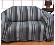Homescapes Tagesdecke / gestreifter Sofaüberwurf Morocco in Grau 255 x 360 cm - handgewebt aus 100% reiner Baumwolle - XXL-Größe mit Fransen