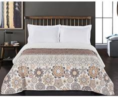 DecoKing Tagesdecke 220 x 240 cm braun orange weiß Bettüberwurf mit abstraktem Muster zweiseitig pflegeleicht Alhambra Schokolade White Brown Chocolate