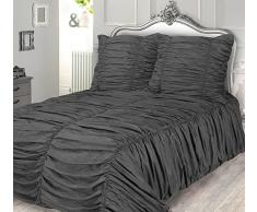 Phoenix XXL 3D Biesen Design Modern Bettüberwurf Tagesdecke 240x260cm Überwurfdecke Farbe: Grau