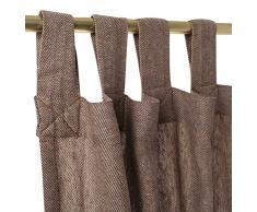 URBANARA Vorhang Vinstra - 100% reiner Leinen, Braun mit Fischgratmuster und Schlaufen - 135 x 280 cm, einzelner Schal