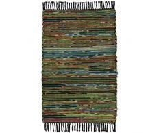 Indian Arts fair gehandelter, handgefertigter indischer Chindi-Flickenteppich, recycelte Baumwolle und Vlies, Baumwolle und Fleece, grün, 60 x 90cm