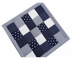 Patchwork Krabbeldecke BS120 für Babys Babydecke Baby Decke Spieldecke Kuscheldecke für Mädchen und Jungen extra groß weich gepolstert STERNE BLAU (120 x 120 cm)