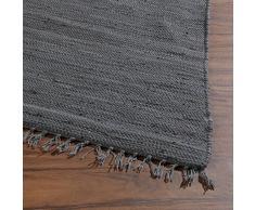 Home4You Flickenteppich Wohnzimmerteppich Handwebteppich Franken Dunkelgrau | 80x250 cm | Grau | Baumwolle