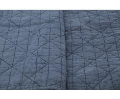 1001 Wohntraum 17JN28 Quilt Anne Karo grau - blau, Plaid Tagesdecke, Muster Decke (180 x 220 cm)