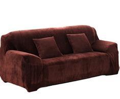Icegrey Winter Warme Fleece Sofaüberwurf Sofabezug Couchbezug Schutzhülle Sofa Couch Beleg Over Easy Fit Stretch Covers Elastischer Stoff Fit Sofa-Schutz Kaffee 3 Sitzer 190-230cm