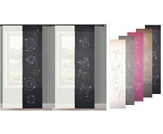 2er Set Schiebegardine Flächenvorhang Strass Wildseide Optik mit Strass und Voile Paneel, 245x60, Schwarz Circle, 856250