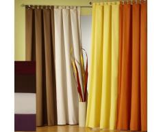 Gardinen moderner Vorhang, Schlaufenschal mit Kräuselband, blickdicht, verschiedene Farben und Größen aus Microfaser (schoko, HxB 175 x 140 cm)