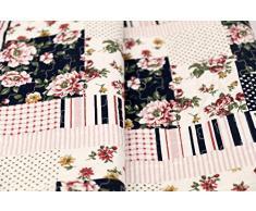 1001 Wohntraum 17JN12 Quilt Elsa Blumen Punkte, 220 x 240 cm, Plaid Tagesdecke, Patchwork Vintage Shabby Decke