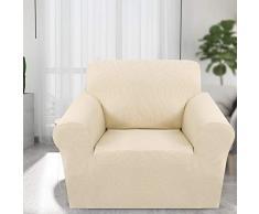 ChicSoleil Sofa Überwürfe Jacquard Sofabezug Elastische Stretch Spandex Sofaüberzug Couchbezug Sofahusse Sofa Abdeckung für 1/2/3 Sitzer (1 Sitzer, Hellgelb)