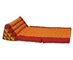 Kapok Thaikissen, Yogakissen, Massagekissen, Kopfkissen, Tantrakissen, Sitzkissen - rot/orange (Dreieck mit 2 Auflagen 52x44x45 (81002))