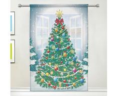 FFY Go Sheer Voile Fenster Vorhang Panel Happy New Year Weihnachten Baum mit Kugeln Muster Polyester Material Stoff für Schlafzimmer Home Decor Küche Wohnzimmer 139,7 x 198,1 cm, 55 x 84 inch