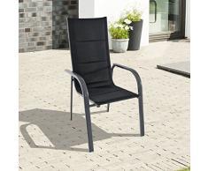 greemotion Stapelsessel Grenada anthrazit/schwarz, Sitzmöglichkeit für In- und Outdoor, platzsparender Terassenstuhl, Stuhl mit leichtem Aluminiumgestell, gepolsterte Bespannung aus 2x2 Textilene