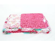 1001 Wohntraum T414 Quilt O pink Blumen, 180 x 220 cm, Plaid Tagesdecke, Patchwork Landhaus Shabby Decke