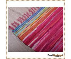 Flickenteppich handgewebter Teppich aus Baumwolle, stylischer und strapazierfähiger Fleckerlteppich in vielen verschiedenen modischen Ausführungen erhältlich (120 x 180cm / pink - rosa)