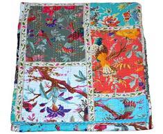 Majisacraft Patchwork-Decke aus Baumwolle, Kantha-Quilt, Vogel-Print, Überwurf, Bohemian-Tagesdecke, handgefertigt, Kantha-Quilt, Twin Size 152,4 x 228,6 cm