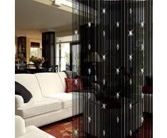 Youpin Vorhang mit 3 Perlen, für Fenster, Tür, Beauty, Deko, Raumteiler, Fliegengitter, Rollo, Quasten, Schwarz
