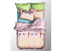 DecoKing 05095 Bettwäsche 135x200 cm Kinderbettwäsche mit 1 Kissenbezug 80x80 Bettwäscheset Bettbezüge Microfaser Bettwäschegarnituren Reißverschluss Basic Collection Chuck orange weiß lila