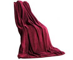 CelinaTex Quebec Kuscheldecke XXL 200 x 220 cm Bordeaux Coral Fleece Tagesdecke Mikrofaser Sofadecke federleicht